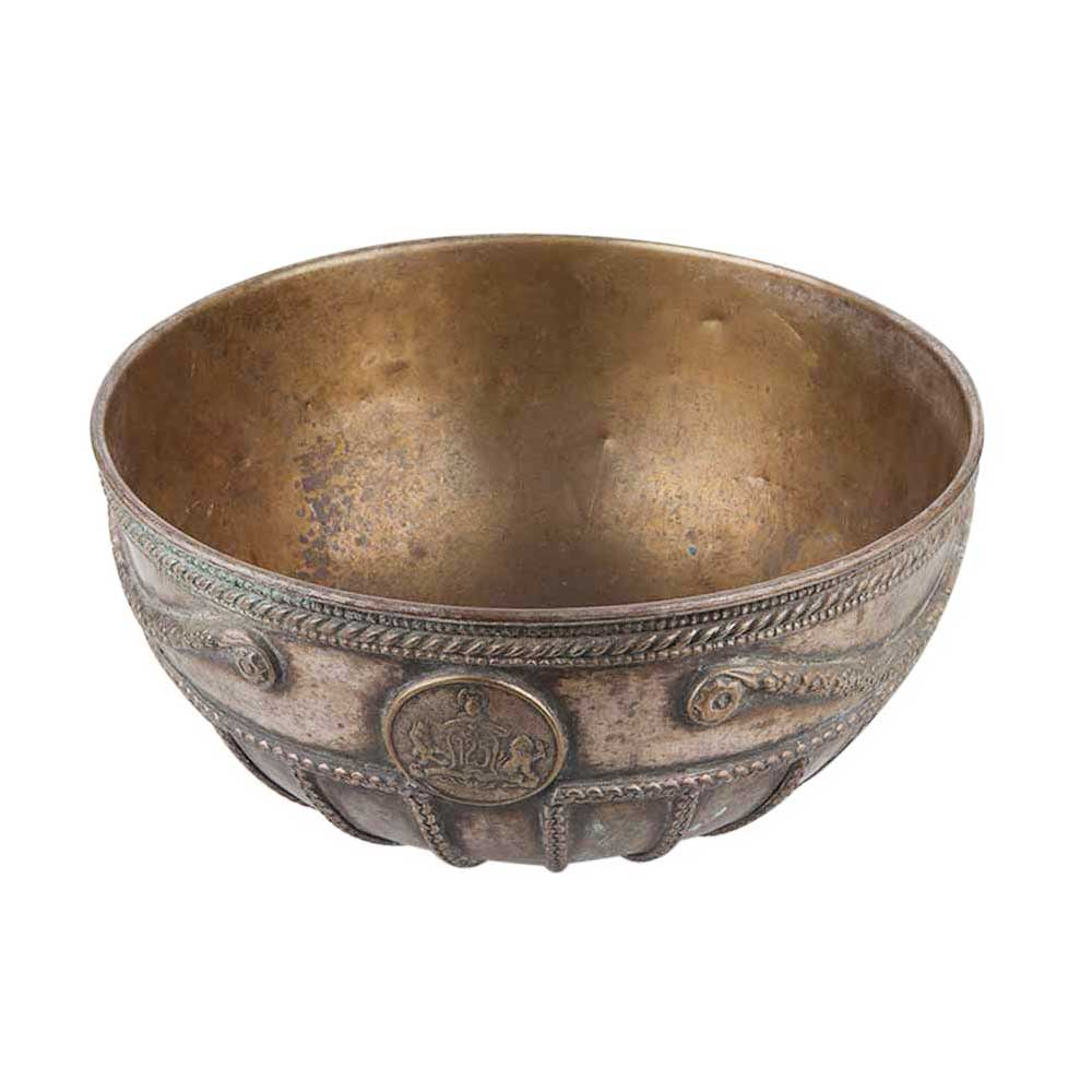 Brass Bowl With Embossed Hand Chiseled  Floral Bands  And Decorated Rim