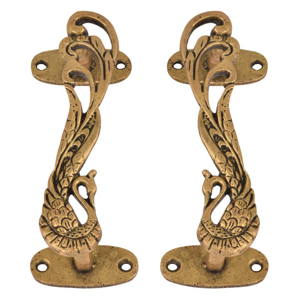 Designer Brass Door Handles Peacock With Long Feathers In Pair