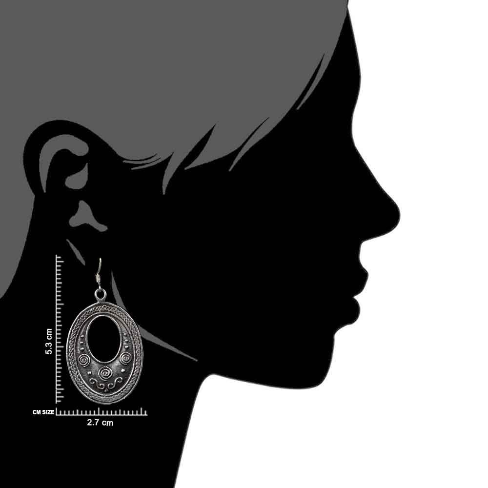 Tribal Oval 92.5 Sterling Silver Earrings Cut Design