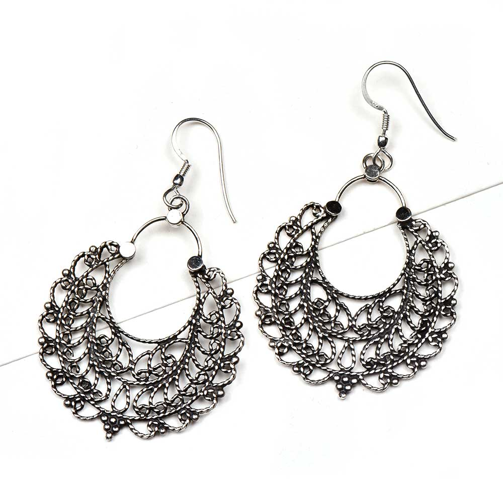 Tribal 92.5 Sterling Silver Earrings Shiny filigree Bali drop Earrings