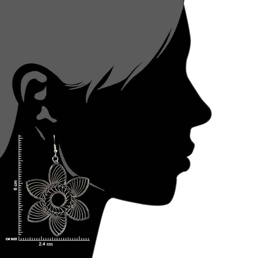 Handcrafted 92.5 Sterling Silver Dangler Earrings Filigree Floral Danglers