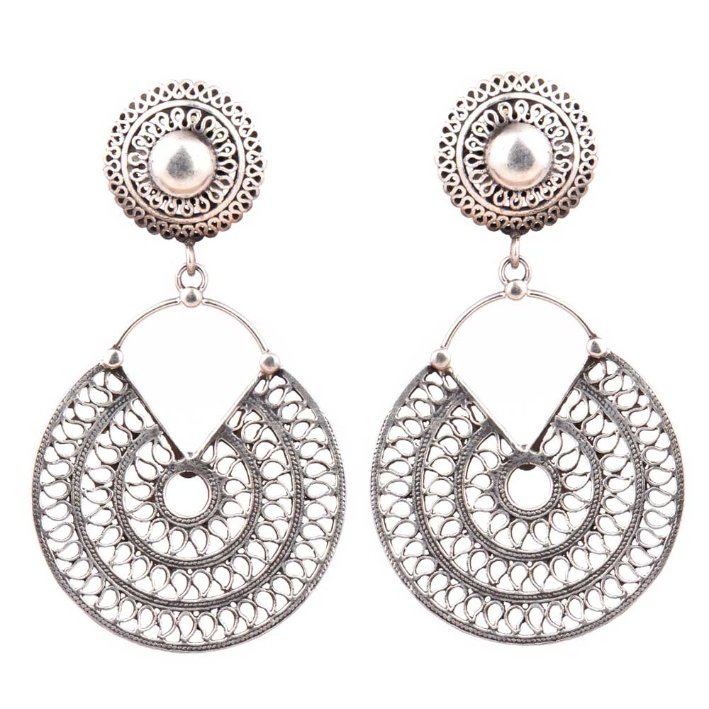 Disc Filigree 92.5 Sterling Silver Handcrafted Dangle Drop Earrings