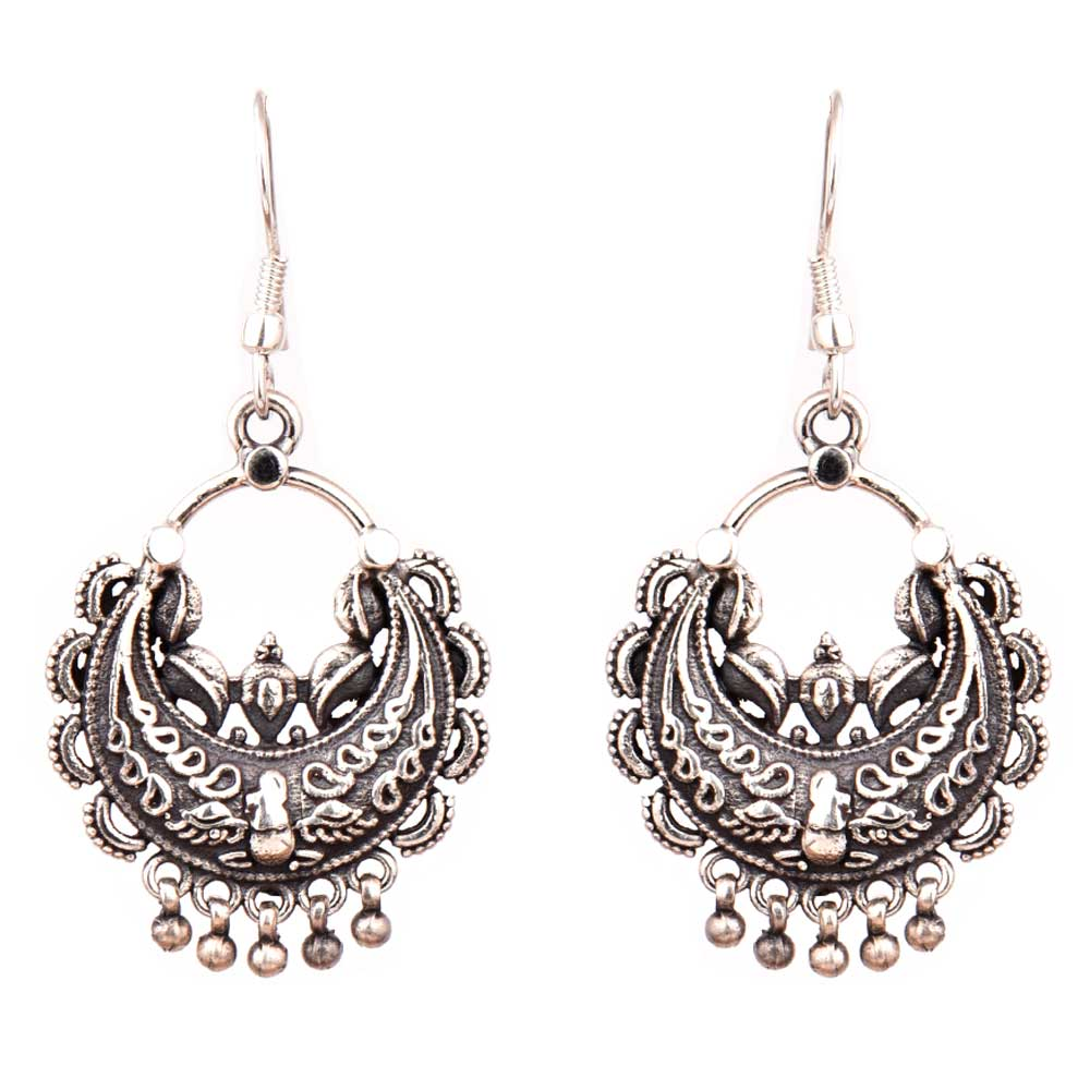 Oxidized 92.5 Sterling Silver Earring Chandbali Engraved Dangler Earrings