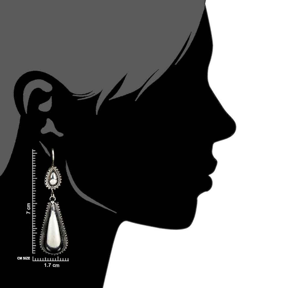 Long Tear Drop 92.5 Sterling Silver Earrings  With Tribal Engraved Pearl Shape Stud