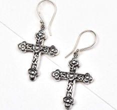 Floral Cross 925 Sterling Drop Earrings For Women