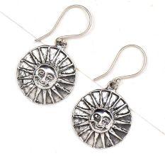 Sun Face 92.5 Sterling Silver Earrings For Women