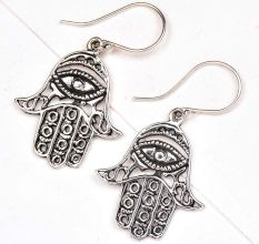 Hamsa Hand 92.5 Sterling Silver Earrings Evil Eye Engraved Earrings
