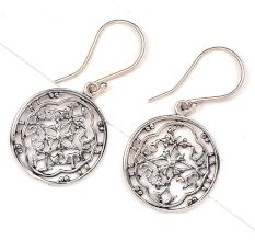 Round 92.5 Floral Filigree Silver Earrings Modern Jewelry For Women