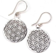 Round Flower Of Life 92.5 Sterling Silver Earrings  For Women And Girls