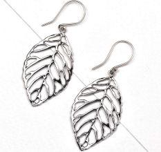 Filigree Leaf 95.5 Sterling Silver Earrings For Women