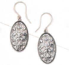 Oval Filigree floral 92.5 Sterling silver Earrings
