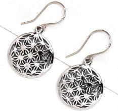 Round Flower Of Life 92.5 Sterling Silver earrings For Women