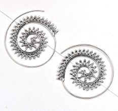 Spiral Drop 92.5 Sterling Silver Earrings With Leaf design