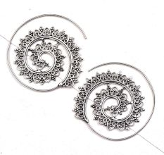 Open Circle  92.5 Silver Sterling Earrings  with Leaf pattern