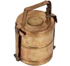 Golden Brass Tiffin Box With Two Compartments