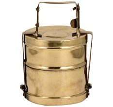Golden Framed Brass Tiffin Box With Two Storage Box