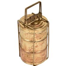 Golden Brass Three Tier Tiffin Box For Home Decoration With Lock