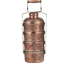 Copper Tiffin Box Four containers With Big Flower And Leaves Engraved Tiffin Box