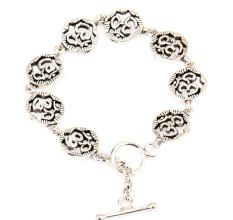 Om Charms 92.5 Sterling Silver Bracelet For good Luck
