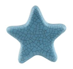 Turquoise Star Crackle Ceramic Knob