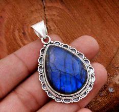Labradorite Gemstone 92.5 Sterling Silver Handmade Pendant