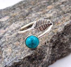 Leaf Special Turquoise Round Gemstone Antique Handmade Adjustable Boho Female Ring