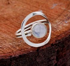 Rainbow Moonstone Gemstone 92.5 Sterling Silver Antique Handmade Adjustable Male Female Ring