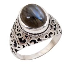 Labradorite Gemstone 92.5 Sterling Silver Antique Handmade Male Female Boho Ring