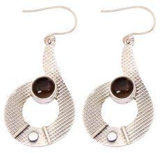 Smoky Quartz Gemstone 92.5 Sterling Silver Antique Handmade Boho Female Dangle Earrings.