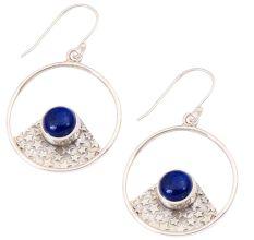 Blue Lapis  Natural Gemstone 92.5 Sterling Silver Antique Handmade Boho Female Dangle Earrings