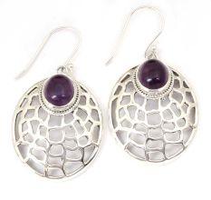 Amethyst Gemstone 92.5 Sterling Silver Antique Handmade Cab Web Female Dangle Earrings