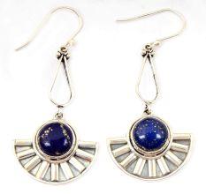 Natural Blue Lapis Gemstone 92.5 Sterling Silver Handmade Female Dangle Earrings