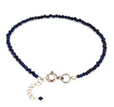 Navy Blue Lapiz Lazuli Beaded Bracelet With Extension Chain