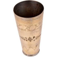 Faded Floral Design Brass lassi Glass Cup For Decoration