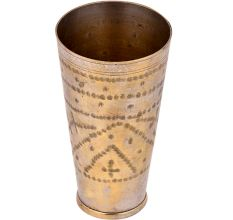 Hand Carved  Dotted Brass Lassi Glass Cup For Home Decoration