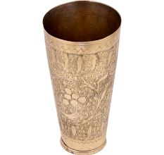 Carved Fruits And Leaved Brass Lassi Glass Cup