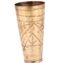 Handmade Brass Lassi Glass Cup Engraved With Geometric leafy Pattern Design