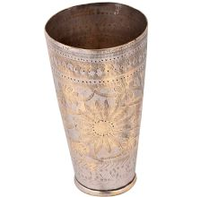 Brass Lassi Glass Cup Sunflower And Diamond Border
