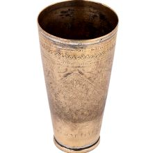 Brass Lassi Glass Cup With Faded Floral Design For Gifting