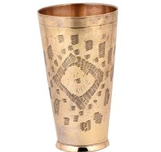 Hand made Abstract Geometric Design Brass Lassi Glass Cup