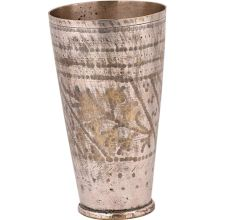 Old Brass Lassi Glass Cup Faded Leaves And Dotted Borer Design