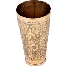 Floral Delight Brass Lassi Cup Tall Punjabi Glass