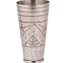 Traditional Brass Lassi Glass Cup With Etched And Dotted Rings Leaves Design