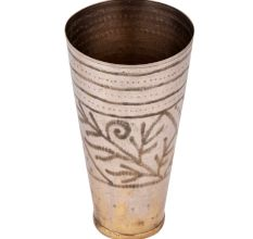 Brass Punjabi Lassi Glass Etched leafy Pattern Design