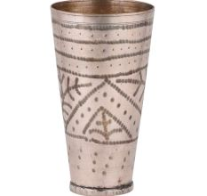 Hand crafted Tall Brass Lassi Glass Cup Geometric Leaf Design