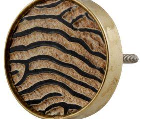 Round Zebra Print Horn Brass Drawer Knobs