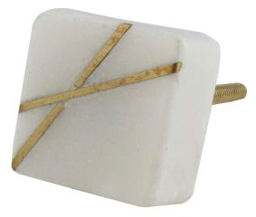 White Square Stone Gold Cross Dresser Knob
