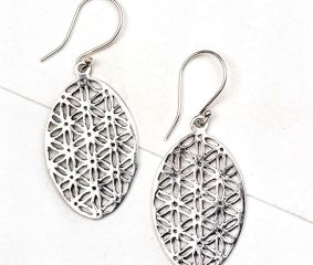 92.5 Sterling Silver Earrings Oval Sacred Flower Of Life Design Earrings