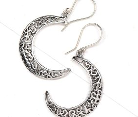 92.5 Sterling Silver Earrings  Crescent Moon  Filigree Dangle earring