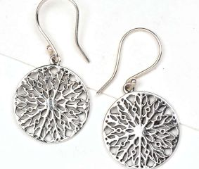 Round 92.5 Sterling Silver Floral Filigree Earrings For Women